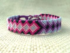 Friendship BraceletPurple Pink and Black Diamond and by FriendsnMe, $7.00