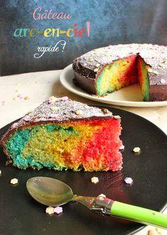 gateau arc en ciel facile Rainbow Food, Quick Recipes, Party Cakes, Easy Desserts, Cornbread, Nom Nom, Bakery, Food And Drink, Birthday Cake