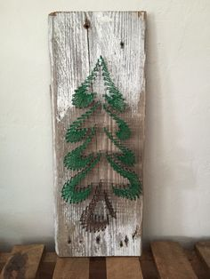 Christmas tree string art, barn wood, diy