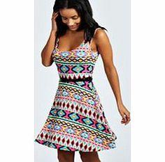 fc2673d0985 Rose Aztec Skater Dress at boohoo.com Aztec Vests