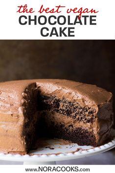 The Best Vegan Chocolate Cake - Nora Cooks Vegan Cake 3 easy vegan birthday cake recipes Vegan Cake Mix, Vegan Lemon Cake, Raw Cake, Dairy Free Chocolate Cake, Best Vegan Chocolate, Cake Chocolate, Vegan Chocolate Cupcakes, Chocolate Heaven, Chocolate Recipes