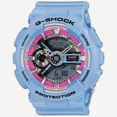 52cc1fde0a8e Casio Womens G-Shock S Series - Blue Case and Floral Pattern Strap - Pink  Accent