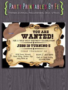 Printable Birthday Party Invitation ~ Sheriff Callie Inspired Cowboy Cowgirl Birthday ~ I113