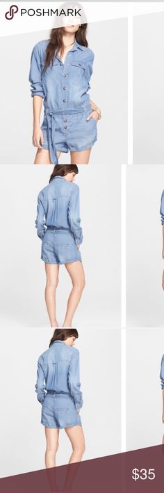 Free People Chambray Denim Romper M SizeM Free People Jeans
