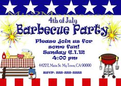 Fourth of July Invitations diy Printable by M2MPartyDesigns