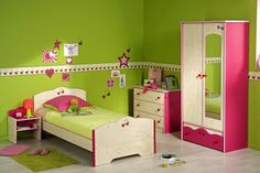 Dormitor fetite Miss Griotte 3   #Mobila Toddler Bed, Furniture, Home Decor, Flowering Plants, Bright Colours, Decorating Rooms, Quartos, House Decorations, Homemade Home Decor