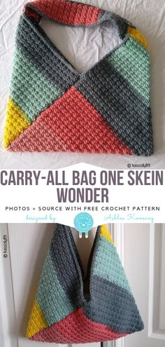 One Skein Crochet Free Patterns Carry-All Bag One Skein Wonder Free Crochet Patt. One Skein Crochet Free Patterns Carry-All Bag One Skein Wonder Free Crochet Pattern The post One Skein Crochet Free Patt. One Skein Crochet, Stitch Crochet, Crochet Stitches, Wire Crochet, Crochet Handbags, Crochet Purses, Knitting Projects, Knitting Patterns, Quick Crochet Patterns