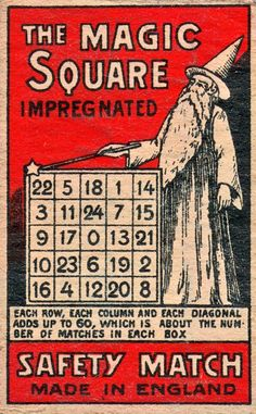 The Magic Square matchbox (England, c. 1930)
