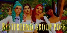 Best friend group poses by simmerdanicc - los sims 4 descarga Strip Steak, Portobello, The Sims, Sims Cc, Friend Group Pictures, Friends Picture Frame, Group Poses, Friend Poses, Framed Tv