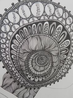 Organic form. Pen & Ink Drawing by Gail Mair McKendry. Not yet finished.