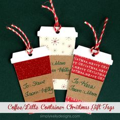 Make these gift tags for your coffee lover! -> Coffee or Latte Container Christmas Gift Tags With Free Cut File | Simply Kelly Designs