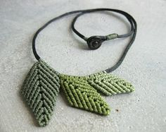 Green Leaf Necklace . Textile Micro Macrame Jewelry . Elven Natural Woodland Botanical Organic. Textile Fiber Jewellery . Design by raiz