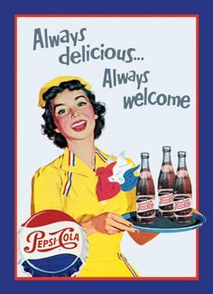 Growing up, we always had Pepsi products in our home! I prefer, . I am addicted to Diet Pepsi! Old Advertisements, Retro Advertising, Retro Ads, Diet Pepsi, Pepsi Cola, Pub Vintage, Vintage Signs, Vintage Food, Poster S