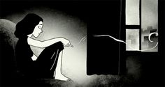 This is an image of Marji in the book Persepolis. She is sad in this picture and smoking, trying to cope with the pain of feeling alone. She has not found her place in Vienna, despite having a few friends, nothing is making her feel that sense of belonging. She is alone and miserable.