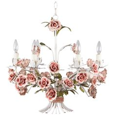 Italian tole blue roses chandelier my paris flea market store painted tole chandelier with flowers from italy mozeypictures Image collections
