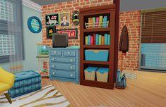 Sims House Design, Sims Building, Sims 4 Build, Sims 4 Houses, Sims Cc, Bookcase, Bath, Room, Inspiration