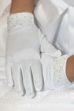 Matte Satin First Communion Gloves with Sheer Wrist Beading   : ACCG004 #catholicfaithstore