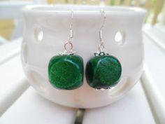 Forest green cube earrings, silver hooks, Scandinavian / Nordic style by SelmaDreams on Etsy