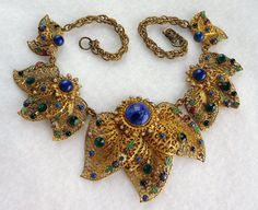 Filigree & Rhinestone Floral Necklace  Vintage by thejewelseeker, $395.00  on etsy.com