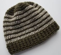 Pattern written for adult and child size hat. Pattern uses about 2 ozs of yarn. Pattern directions given for two-tone hat which needs less than 2 ozs of yarn for main color and 1 oz for contrasting color.