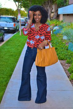 Aztec Print Blouse + High Waist Bell Bottoms
