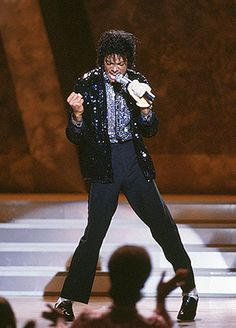 Michael performing 'Billie Jean' at Motown's 25 Celebration. I watched this on live t.v. and like the rest of America, was mesmerized by the new Michael...one glove! And the moon walk! Incredible!