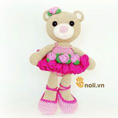 Hướng+dẫn+móc+gấu+Bibi+mặc+váy+hoa+bằng+len+sợi