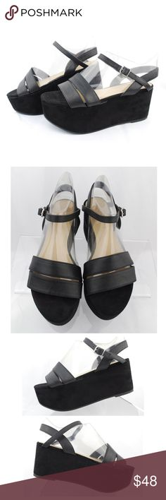 """Zara Trafaluc Black Platform Wedge Sandals Zara Trafaluc Women's Black Strappy Sandals Platform Wedge Ankle Strap Size 36  Size: 36 Color: Black Design: Strappy Sandals Platform Wedge Ankle Strap  Heel Height (approximate): 3"""" Front Platform (approximate): 2""""  Condition: Pre-Owned/ Excellent Condition, Please Check the Photos.  Note: All props in the photos including shoe trees are not included with the purchase Zara Shoes Sandals"""