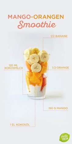Yummie - Yummy - mjam - lecker - mniam mniam ciap ciap Sommer-Smoothie / / Mango Kokos Orange How to Smoothie Fruit, Smoothie Prep, Apple Smoothies, Good Smoothies, Smoothie Drinks, Mango Smoothies, Mango Orange Smoothie, Detox Drinks, Sumo Natural