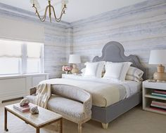 """This Upper East Side bedroom by Timothy Whealon features wallpaper by Callidus Guild. """"I used it because of its zen quality and because it reminded me of a Gerhard Richter painting,"""" he says."""