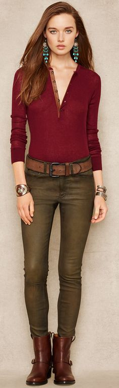 Ralph Lauren   Gray and Burgundy   Women's Fashion. www.designerclothingfans.com