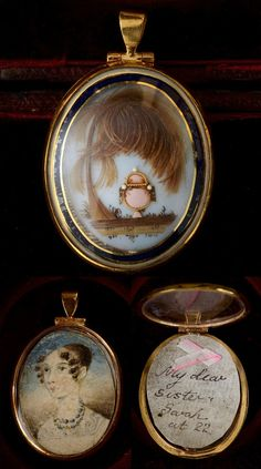 Mourning Jewelry / Late 1700s Hair Work Mourning Pendant