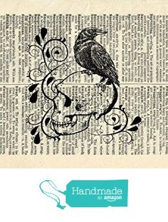 RAVEN ON A SKULL Art Print - Vintage Dictionary Art Print - Halloween - Gothic - Steampunk - Illustration - Wall Art - Wall Hanging - Book Print - Home Décor - Housewares - Mixed Media Original - 360B from MerriKitty http://www.amazon.com/dp/B01BW1GCSO/ref=hnd_sw_r_pi_dp_5Yhpxb0KBA9CM #handmadeatamazon    40 each I'd like to use this for a wallpaper