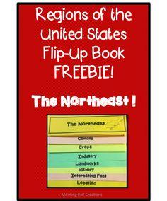 A Sneak-Peek FREEBIE of my Regions of the United States Flip-Up Books Bundle! Grades 2-5