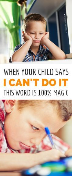 "What's the best parenting move when your kid gives up and says, ""I can't do it"" or ""I'm dumb"" or other negative self talk? Answering with positive affirmations doesn't work, but here's a simple ONE WORD response that will boost your child's confidence and"