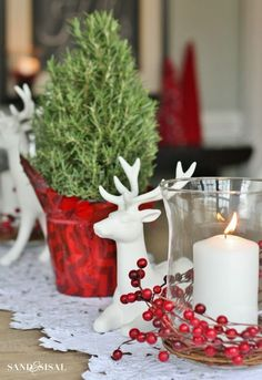 Christmas Centerpiece - Reindeers, candles, rosemary bush