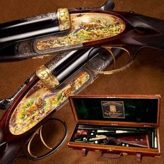 HOLLAND & HOLLAND DOUBLE RIFLE: Likely once showcased at Bashir Bagh Palace in India, this cased H belonged to Nawab Muhammed Moinuddin Khan. The embellished side plates feature varieties of gold (alloyed with silver, copper and platinum) enhance Gun Art, Fire Powers, Custom Guns, Hunting Rifles, Guns And Ammo, Side Plates, Firearms, Shotguns, Holland