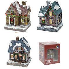 Casa villaggio paesaggio natalizio in resina LUCE LED decorazioni addobbi natale | eBay