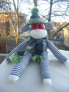 Sock Monkey Navy and White with hat and scarf by Oh-Oh-Ah-Ah Monkey & Friends