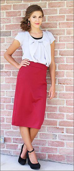 Cranberry Midi Length Pencil Skirt