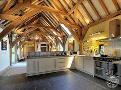 barn home green oak conversion kitchen | barn home | pole barn homes | barn house | barn plans