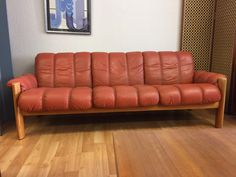 1970 S Mid Century Modern Norwegian Leather Sofa By Ekornes