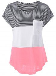 the latest f5b76 f68ae Cap Sleeve Asymmetrical Color Block T-Shirt