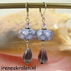 Lampwork Earrings Purple Handmade Glass Beads by IrenesBeads, €7.75