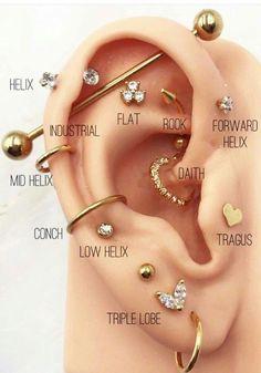 Pretty Ear Piercings, Ear Piercings Chart, Ear Peircings, Types Of Ear Piercings, Ear Piercings Cartilage, Multiple Ear Piercings, Different Ear Piercings, Lip Piercings, Double Cartilage