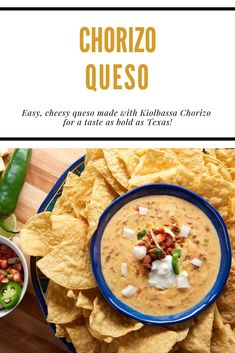 Just when you thought queso couldn't get any better, it did! Queso Recipe With Chorizo, Homemade Queso Recipe, Smoked Sausage Recipes, Smoking Meat, Slow Cooker Recipes, Side Dishes, Curry, Appetizers, Ethnic Recipes