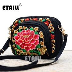 31b5882d85 Boho Ethnic Embroidery Bag Hmong Handmade Embroidered Canvas Shoulder  Messenger Bags Small Brand Crossbody Bags Sac