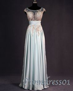 2015 spring cute tailor-made A-line lace chiffon blue long prom dress for teens, ball gown, evening dress #promdress #wedding #coniefox