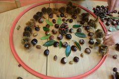 Leg een mandala in een hoepel van herfstvruchten Circuit, Mandala, Classroom, Activities, Sheet Music, October, Woodland Forest, Autumn, Class Room