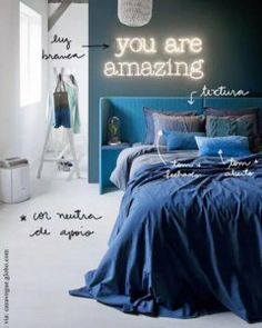 o que você precisa saber para ter um ambiente monocromático! #monochrome #decoracaomonocromática #monochromehome Light Blue Rooms, Blue Room Decor, Yves Delorme, Neon Signs Home, Interior Exterior, Interior Design, Neon Licht, Neon Sign Bedroom, Headboards For Beds